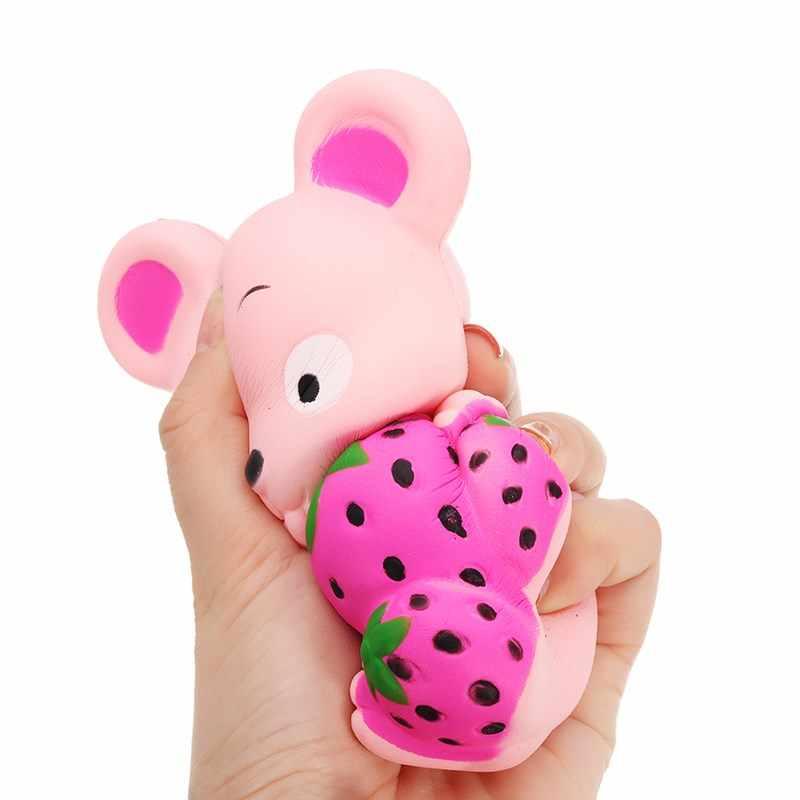 Kawaii Клубничная крыса для мягких медленно поднимающихся мультфильм мягкая игрушка 13 см Новая мягкая Игрушка снятие стресса Подарочная Коллекция с упаковкой