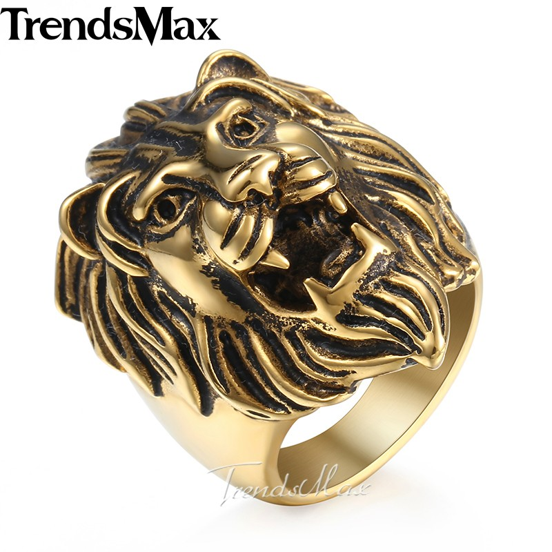 Trendsmax Men's Ring Vintage Roaring Lion King 316L Stainless Steel Ring Gold Color Jewelry for Men HRM05 trendsmax ring for men 316l stainless steel gold silver color illuminati pyramid eye ring hip hop jewelry accessories hr365