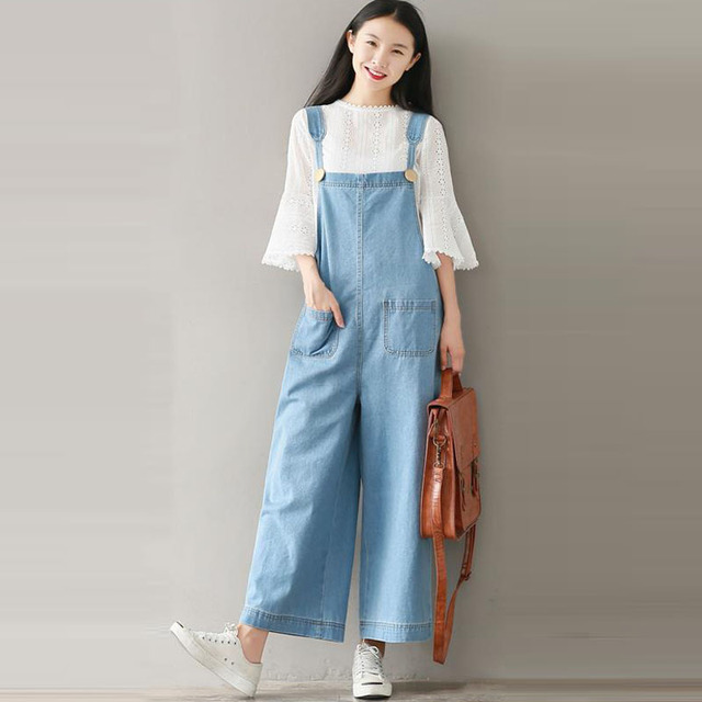 fb484ec2dcb7 Fashion Women Wide Leg Bib Cargo Pants Denim Blue Casual Dungaree Long  Jumpsuit Straps Romper Suspender Overalls Trousers 2018