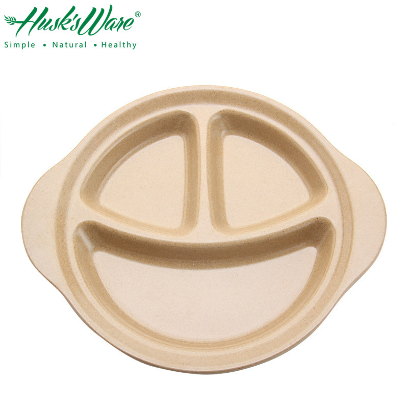 Natural Rice Husk 3 Grids Baby Feeding Dishes Plate for Kids Learning Mini Table Dishes Tray Training Bowl Dinnerware Set