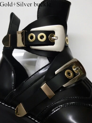 2019 Spring Autumn Cut Out Buckle Strap Ankle Boots Metal Decoration Martens Women Shoes Motorcycle Boots Gladiator Shoe in Ankle Boots from Shoes