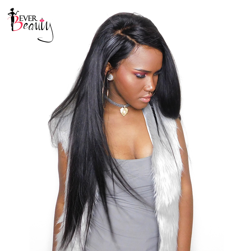 Ever Beauty 180% Density Full Lace Human Hair Wigs For Black Women Straight Brazilian Non-remy Hair Natural Color