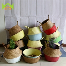 WHISM 10 Colors Hand-Woven Flower Pot Planter Folding Natural Sea Grass Plant Pot Flower Pots Decorative Garden Succulent Pot