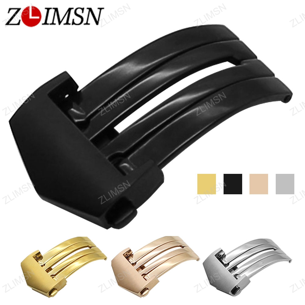 ZLIMSN Watch Buckle 20mm Butterfly Buckle for Leather Watchband Replacement Gold Black Silver Deployment Clasp Men Women watch straps with silver black deployment clasp watchband genuine leather bracelet for men women watches 20mm 21mm 22mm hot sell