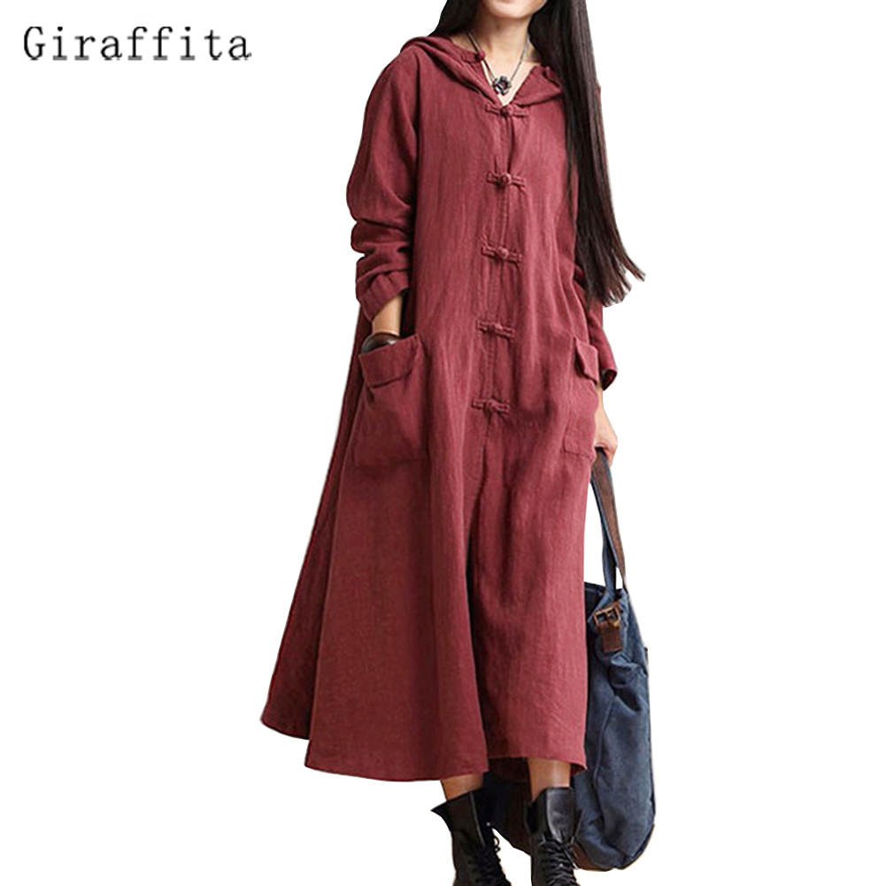 2017 Giraffita Women Casual Solid Spring Dress Loose Full Sleeve Button Dress Cotton Linen Boho Long