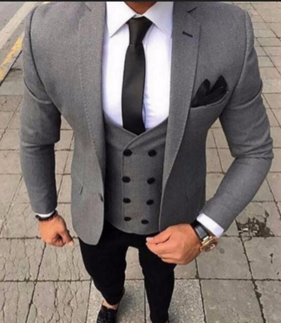 2018 Latest Coat Pant Designs Smoking Grey Men Suit Slim Fit 3 Piece Tuxedo Groom Style Suits Custom Prom Blazer Terno