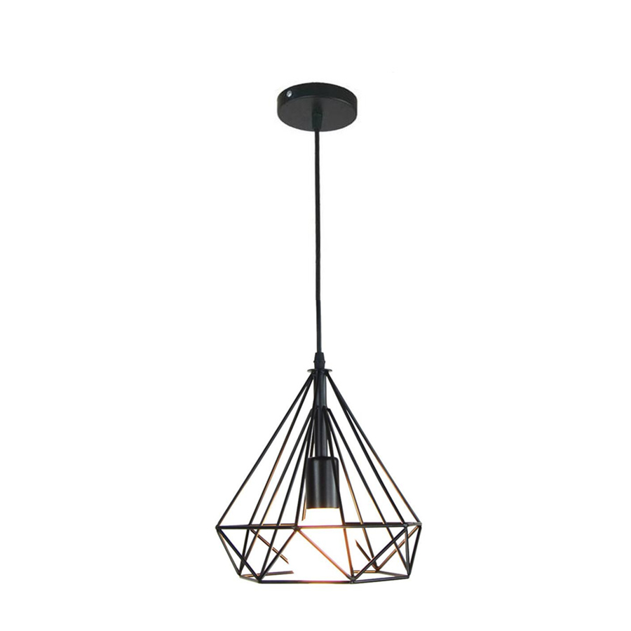 Black diamond Vintage iron cage Pendant Lights E27/26 AC110-260 loft Lighting Fixture LED Light Pendant Lamp luminaire indoor loft lamp vintage pendant lights wrought iron cage pendant warehouse light fixture black lamp