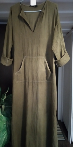 Women Vintage Maxi Long Dress Celmia Summer Autumn Sexy V Neck Long Sleeve Split Casual Loose Linen Vestidos Kaftan S 5Xl photo review