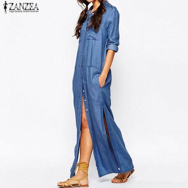 0d806e7285554 S 5XL ZANZEA Women Oversized Autumn Denim Blue Buttons Down Party Loose Long  Shirt Dress Long Sleeve Split Casual Blouse Vestido-in Dresses from Women s  ...