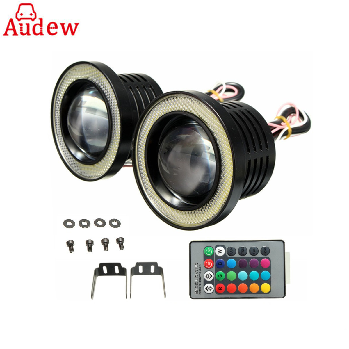 3inches Car COB Angel Eyes Rings LED Fog Light Wireless Control  universal For SUV ATV Off Road Fog Lamp motorcycle head lamp
