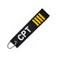 Novelty Mobile Phone Strap Double-sided Captain Key Chain Jewelry Safety Tag Embroidery CPT Phone Straps Holders(China)