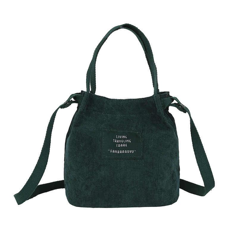 b3c8c4dca Vintage corduroy canvas bag women Simple solid color art Original handbag  bucket bag letter print shoulder