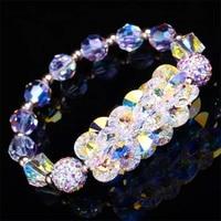 SWAN Hot handmade jewelry DIY Luxury White Crystal Bracelets ElasticRope Brilliant Wedding Jewelry Charm Women Girl Friend Gifts