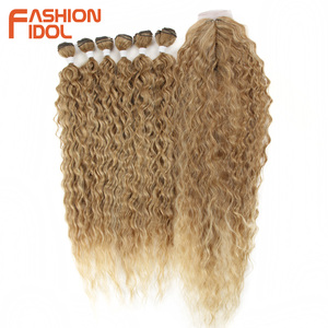 Image 3 - MODA IDOL Afro Kinky Kıvırcık Saç Kapatma Ile Siyah Kadınlar Için Yumuşak Uzun 30 inç Ombre Altın Sentetik Saç Isı dayanıklı