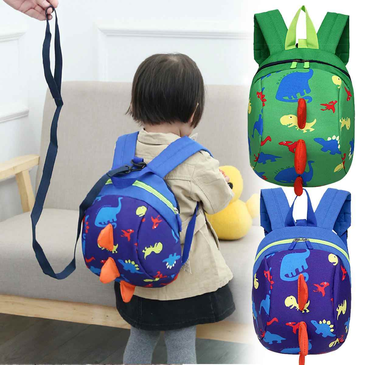 502a725b0677 Baby Backpack Walking Safety Harness Kid Link Traction Rope Dinosaur  Toddler Anti-Lost Leash Bag Strap Rein Cartoon Bag