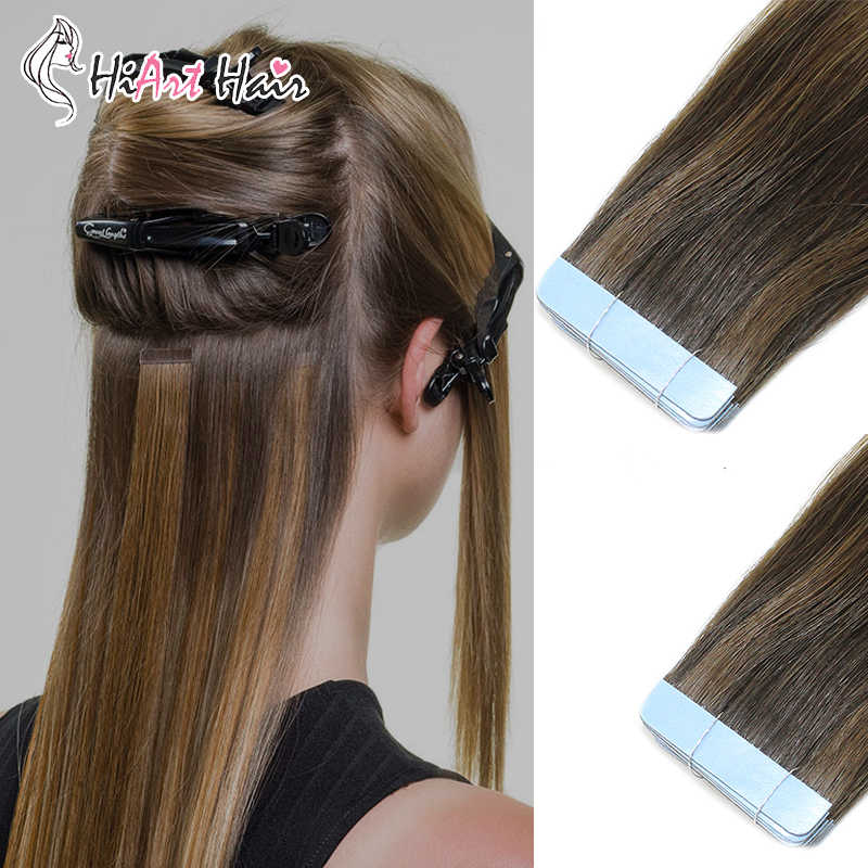 "HiArt 2.5g/pc Tape Hair Extensions In Human Remy Hair Salon Double Drawn Tape Extension Adhesive Seamless Hair 18""20""22"""