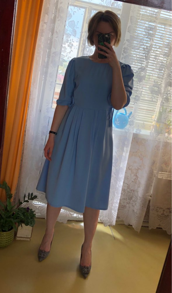 Blue Button Bandage Dress Women Spring Summer Half Sleeve Knee Length Dresses Vestidos Elegant Office Lady Party Dress photo review