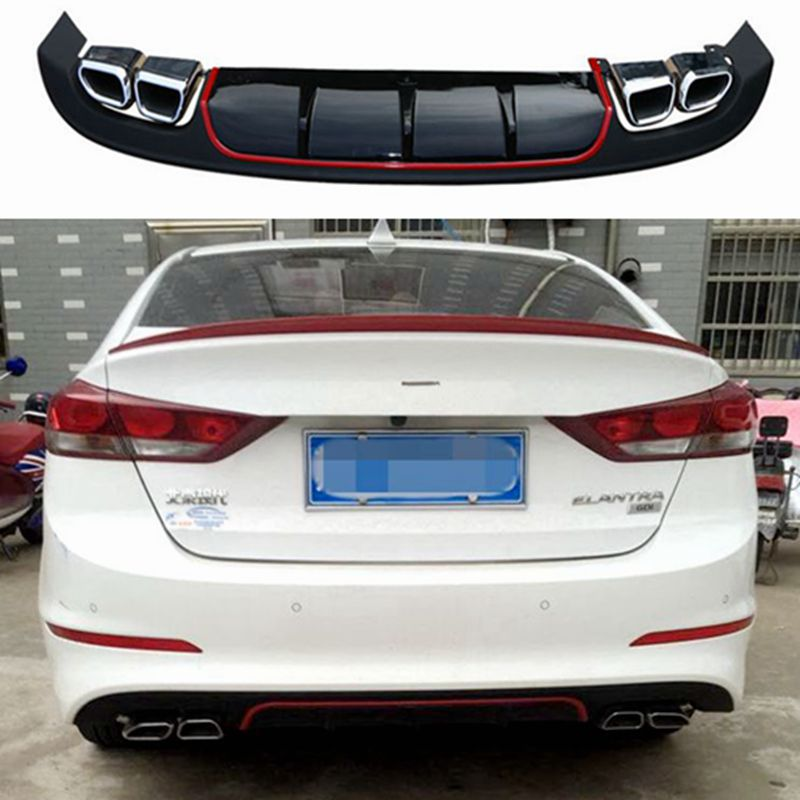 For Elantra Car Accessories Rear Bumper Protector Dual Diffuser Spoiler For 2017 Elantra bumper rear lip rear spoiler romanson tl 4118s mw wh