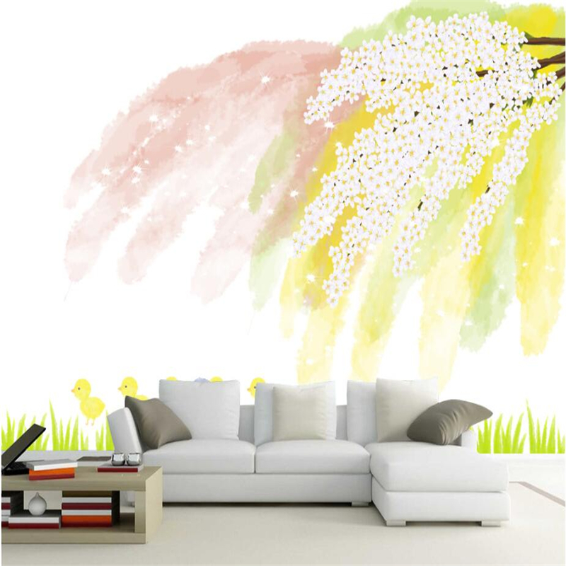 Custom Mural Wallpapers Hand Painted Chick Wall Murals Living Room Fresh Simple White Blossom Wallpaper TV Background Home Decor the custom 3d murals parks sunrises and sunsets trees heart grass nature wallpapers living room sofa tv wall bedroom wall paper