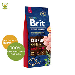 Hond voedsel Brit Premium door Natuur Volwassen L voor volwassen honden van grote rassen, Kip, 15 kg.