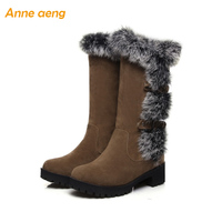 Warm Winter boots Mid Calf with rabbit fur plush insole platform casual women shoes Middle square heel Black Women Winter Shoes