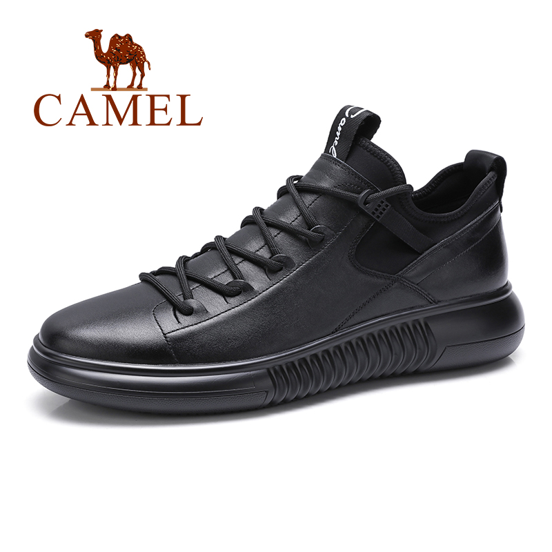 الجمل الخريف الرجال الأحذية أزياء أحذية رياضية غير رسمية الرجال عالية أعلى جلد طبيعي أسود التمهيد الطبيعي جلد البقر بوتا-في أحذية رجالية غير رسمية من أحذية على  مجموعة 1