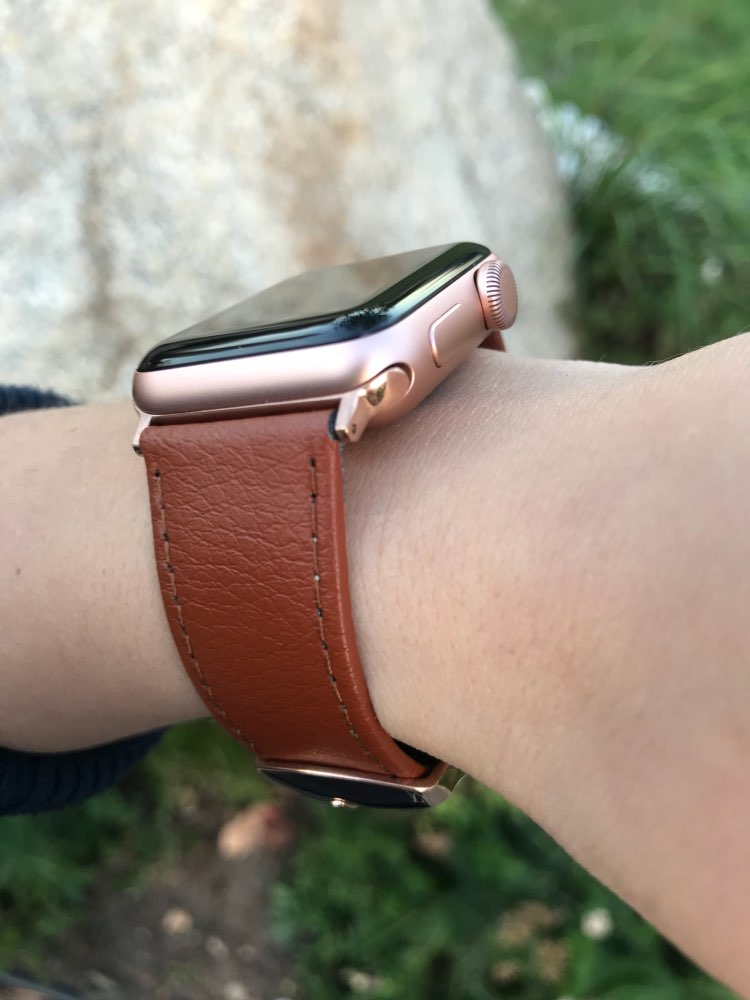 Apple Watch Band strap, Best iwatch Genuine Leather Watchband, rose gold adaptor connector & buckle, 44mm/ 40mm/ 42mm/ 38mm Series 4 3 2 1