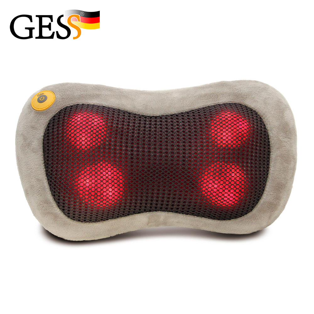 uShiatsu Kneading Massager Pillow with Heat Massage Cushion and Car Charge - Coffee Beige Gess GESS129 kanglang 4d multi function electric foot massager circular massage airbags heat scrap leg machine old man leg massager device