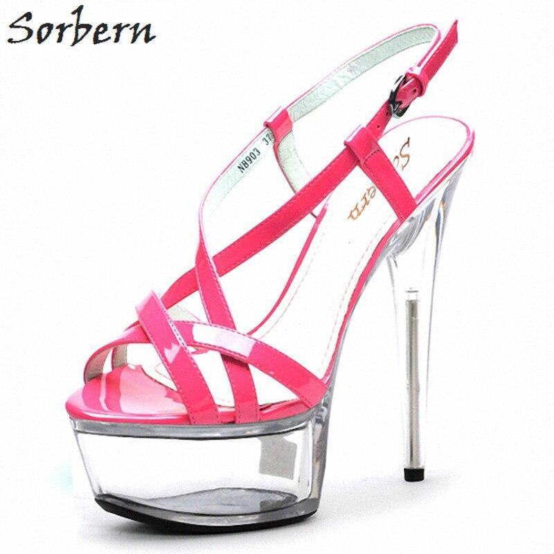 Sorbern 15 سنتيمتر الكعوب واضحة عبر حزام الصنادل أحذية الحفلات الصيف المدرج أحذية الكعب سميك الصينية حجم 43 النساء حذاء حزام صندل-في كعب عالي من أحذية على  مجموعة 1