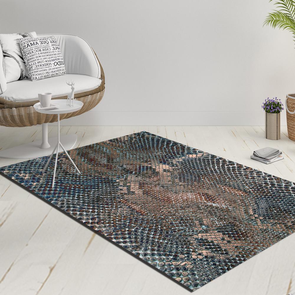 Else Green Brown Wild Snake Skin Animal Design 3d Print Anti Slip Kilim Washable Decorative Kilim Rug Modern Carpet