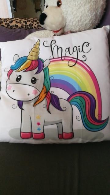 Cute Cartoon Unicorn Cushion Cover photo review