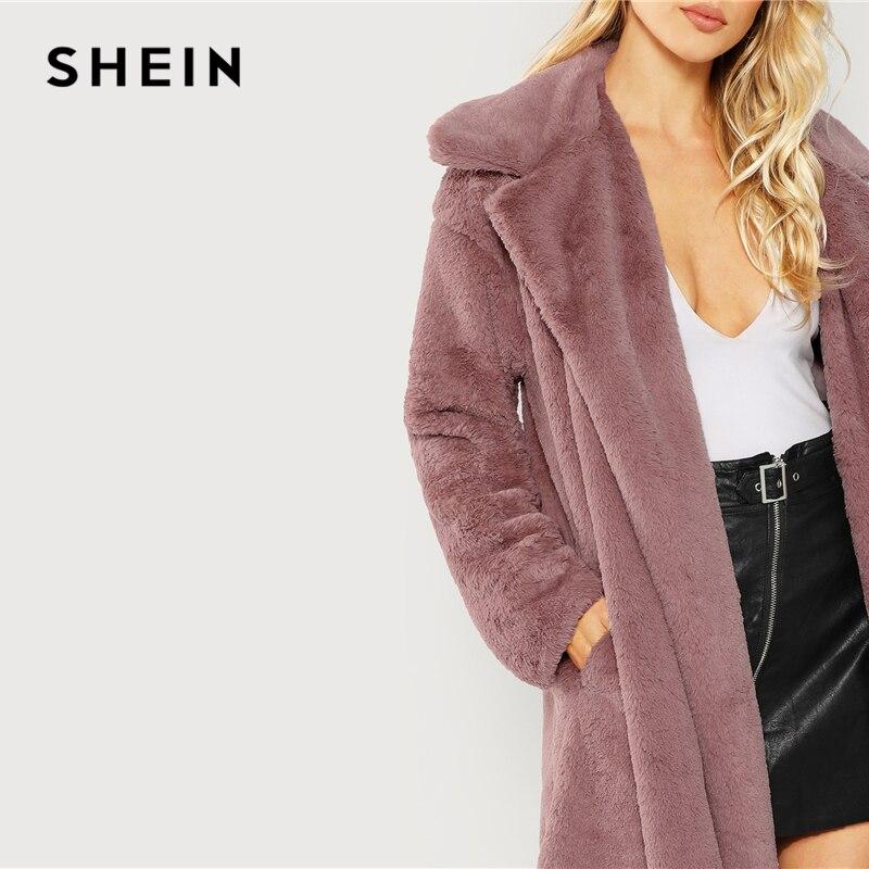 SHEIN Rosa Oficina señora elegante abierto frente largo piel sintética Teddy sólido abrigo 2018 otoño minimalista mujeres abrigos ropa de abrigo - 5