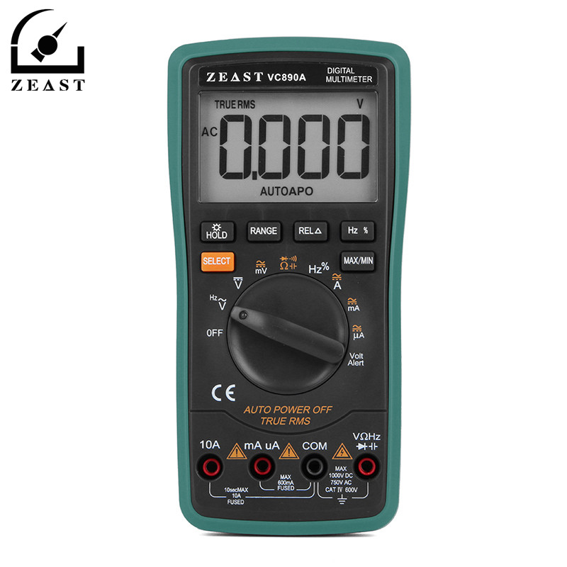 ZEAST 6000 Counts 890A Digital Multimeter Automatic Range 5 5/6 Frequency NCV Test True RMS Tester Meter DC/AC Measuring Tools
