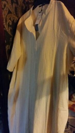 Summer Elegant Women Deep V Neck Casual Loose Split Hem Long Vestido Solid Party Work Cotton Linen Kaftan Dress photo review