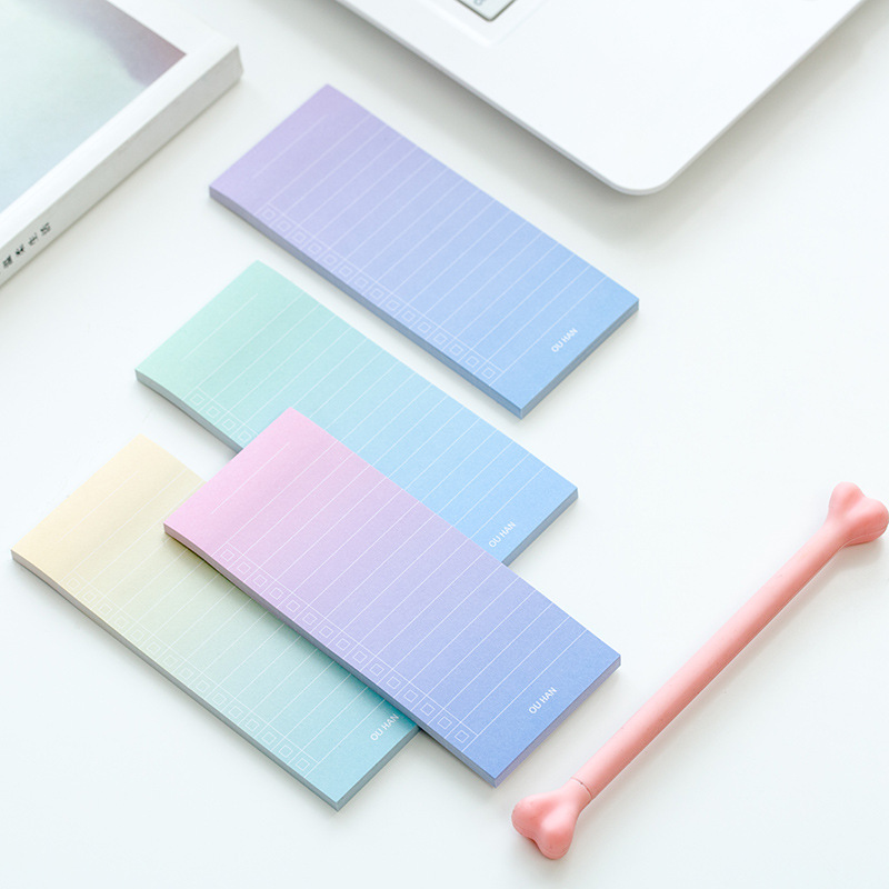 12 sets/1 lot Creative Color gradient Memo Pad Sticky Notes Escolar Papelaria School Supply Bookmark Post it Label