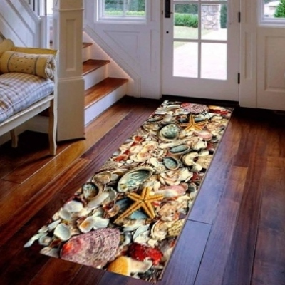 Else Yellow Sea Shells Sea Stars 3d Print Non Slip Microfiber Washable Long Runner Mat Floor Mat Rugs Hallway Carpets