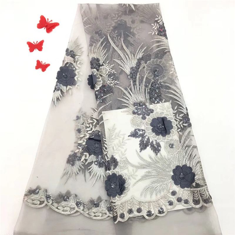 HFX Latest African Laces 2018 Silver Grey Embroidery High Quality 3d Flower Sequin Nigeria Tulle Lace Fabric For Lady X1100-2HFX Latest African Laces 2018 Silver Grey Embroidery High Quality 3d Flower Sequin Nigeria Tulle Lace Fabric For Lady X1100-2
