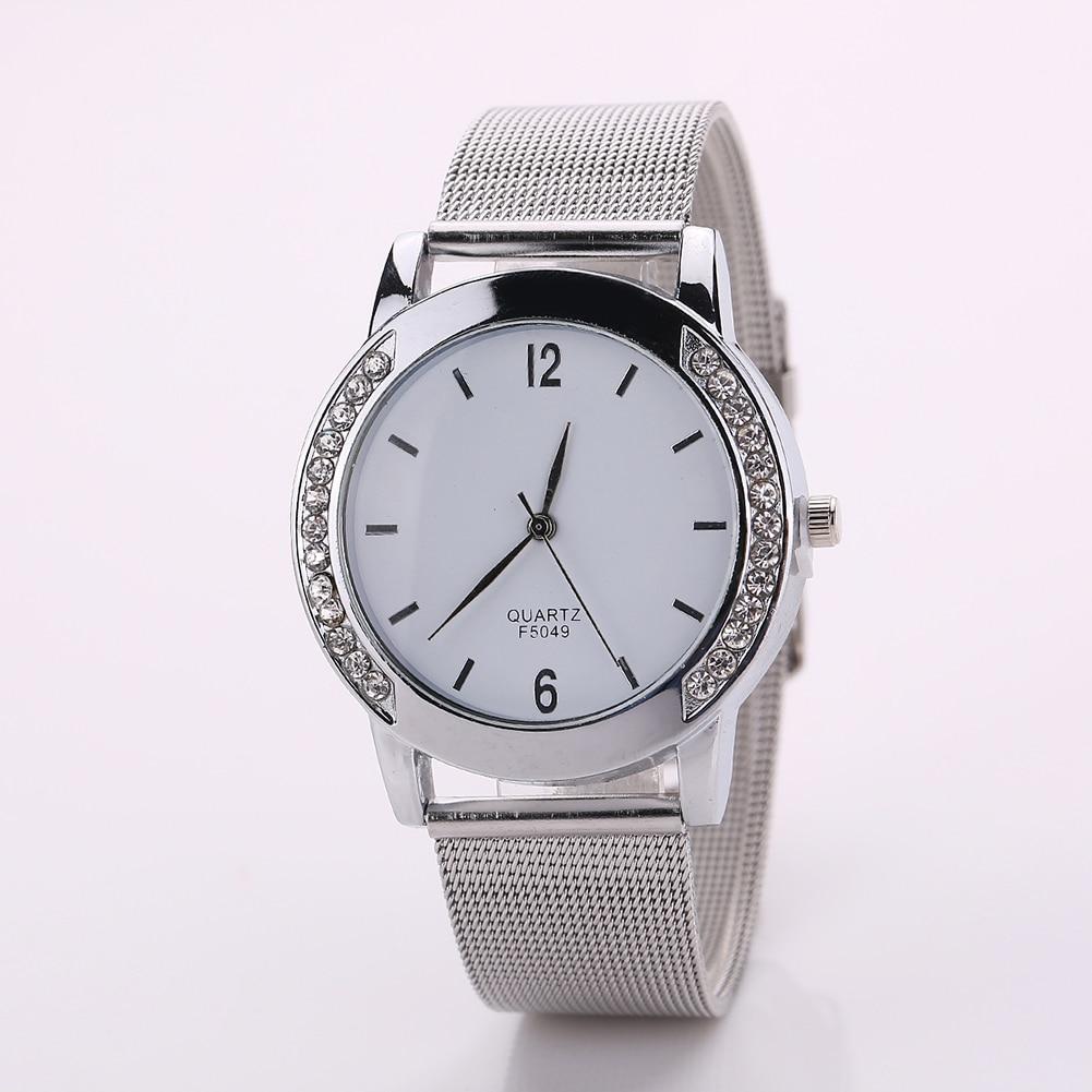 купить Women Luxury Stainless Steel Mesh Band Rhinestone Analog Quartz Wrist Watch недорого