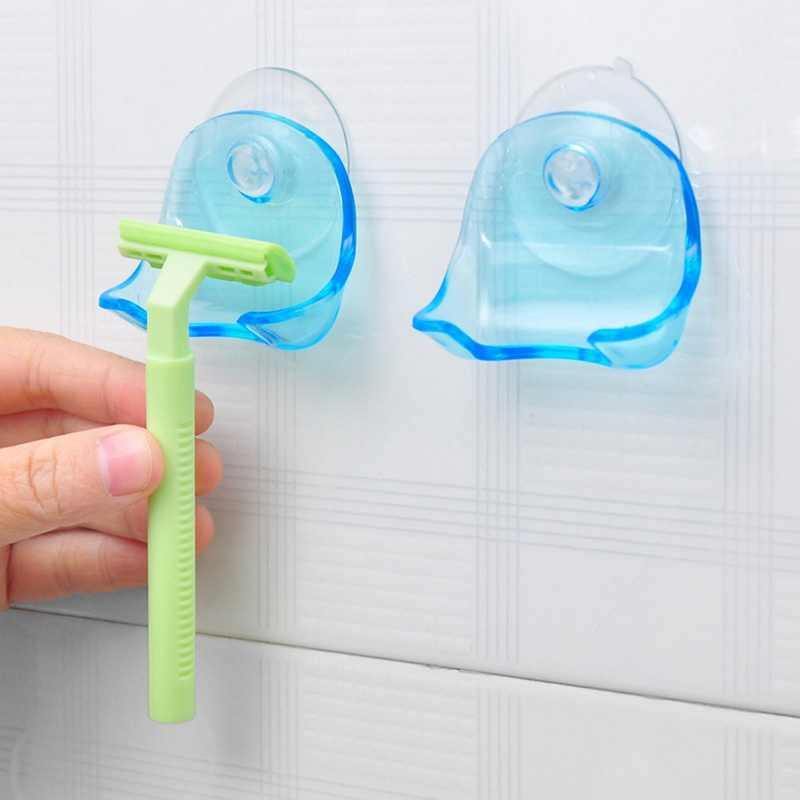 Lasperal 1 Buah Plastik Hijau Super Penyedot Razor Rak Kamar Mandi Razor Pemegang Cangkir Hisap Alat Cukur Penyimpan Rak Promosi