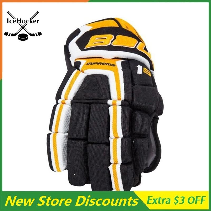 2 Pack New Color Ice Hockey Gloves Black Gold Anatomical fit Senior Supreme series 1