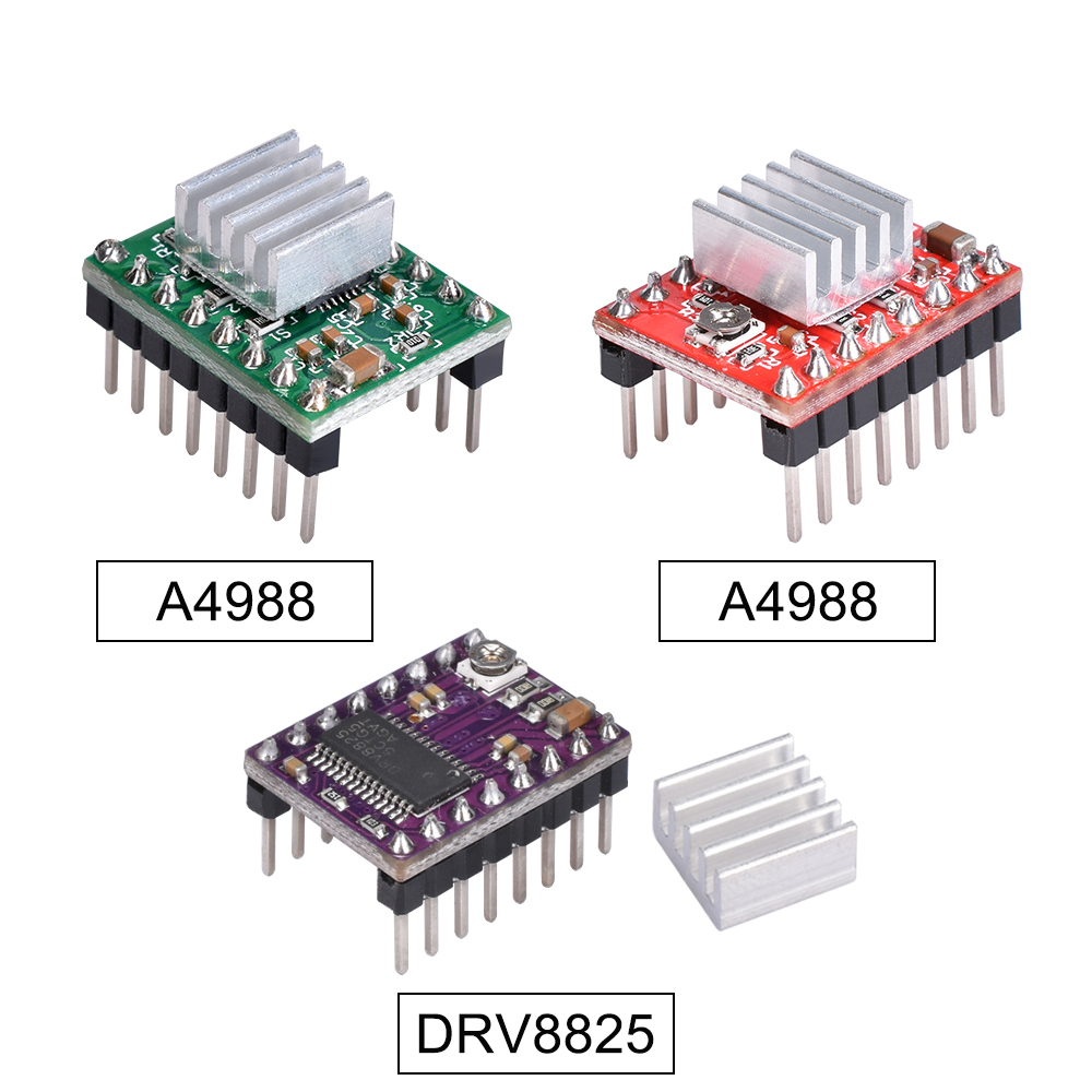 3D Printer Bagian A4988 DRV8825 Stepper Motor Driver dengan Heat Sink untuk Skr V1.3 1.4 GTR V1.0 Landai 1.4 1.6 MKS Gen V1.4 Papan