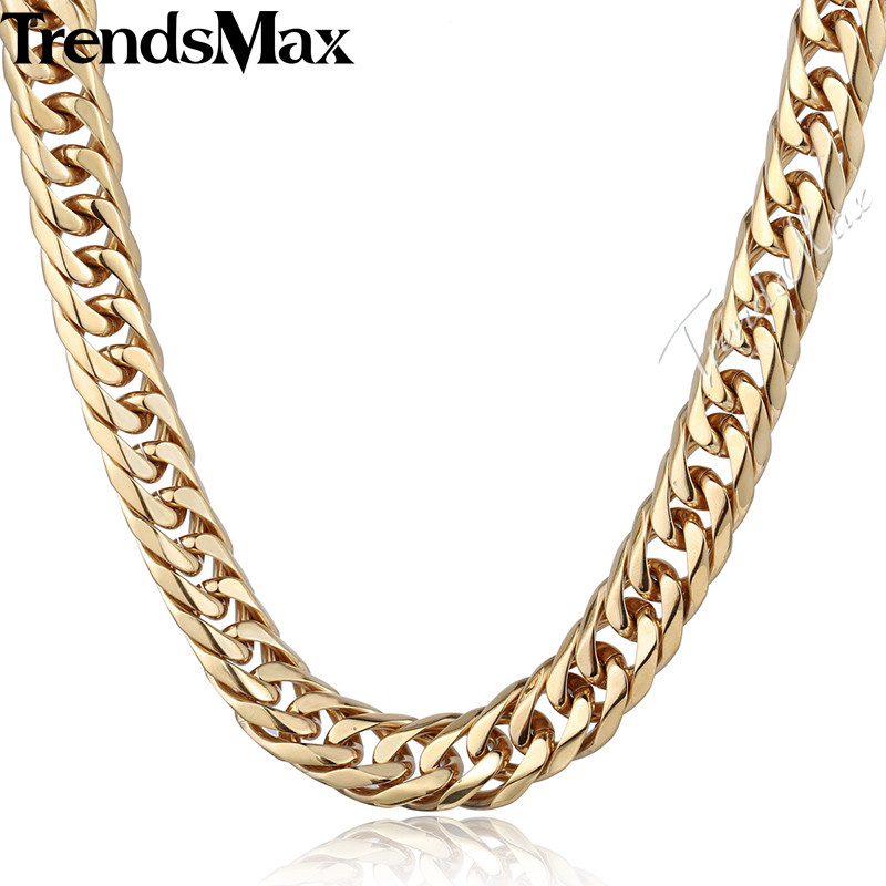 Trendsmax Men's Necklace 316L Stainless Steel Chain for Men Gold Tone Curb Cuban Link HN58 trendsmax bracelet for men 316l stainless steel curb cuban link chain bracelet totem knot charm wristband men fashion gift hb10
