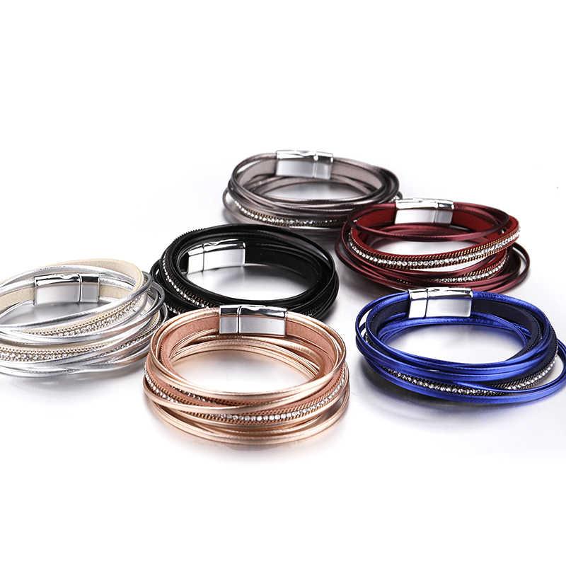 Amorcome, многослойный кожаный женский браслет, 6 цветов, модный, горный хрусталь, кристалл, Femme, браслеты и браслеты для женщин, ювелирные изделия