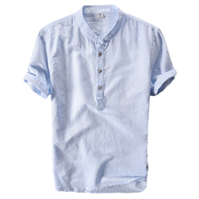 PADEGAO Summer Linen t shirt men with short sleeve solid Button Decor Tees Chinese Style T mens Retrol Stand Collar