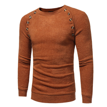 Men Faux Rabbit Fur Round Collar Knitting Sweater Knitwear with Buttons Decor