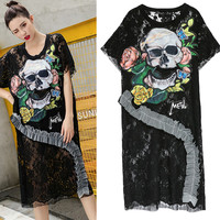 New Arrival Summer Party Women Long Blouses black cool skull head flowers appliques pearls ruffles sheer Lace Blousa NS819
