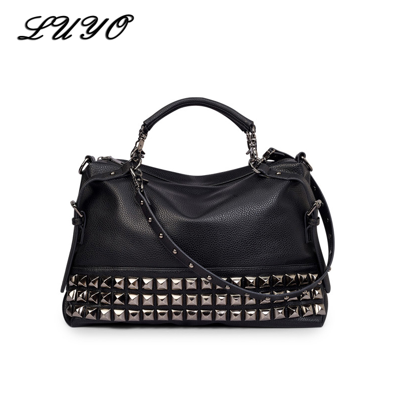 LUYO Famous Brand Black Rivet Pu Leather Shoulder Bag Luxury Handbags Women Bags Designer Vintage Large Casual Tote Bag Female pu leather women bag big casual tote vintage patchwork woman shoulder bags luxury handbags famous brand designer women handbag
