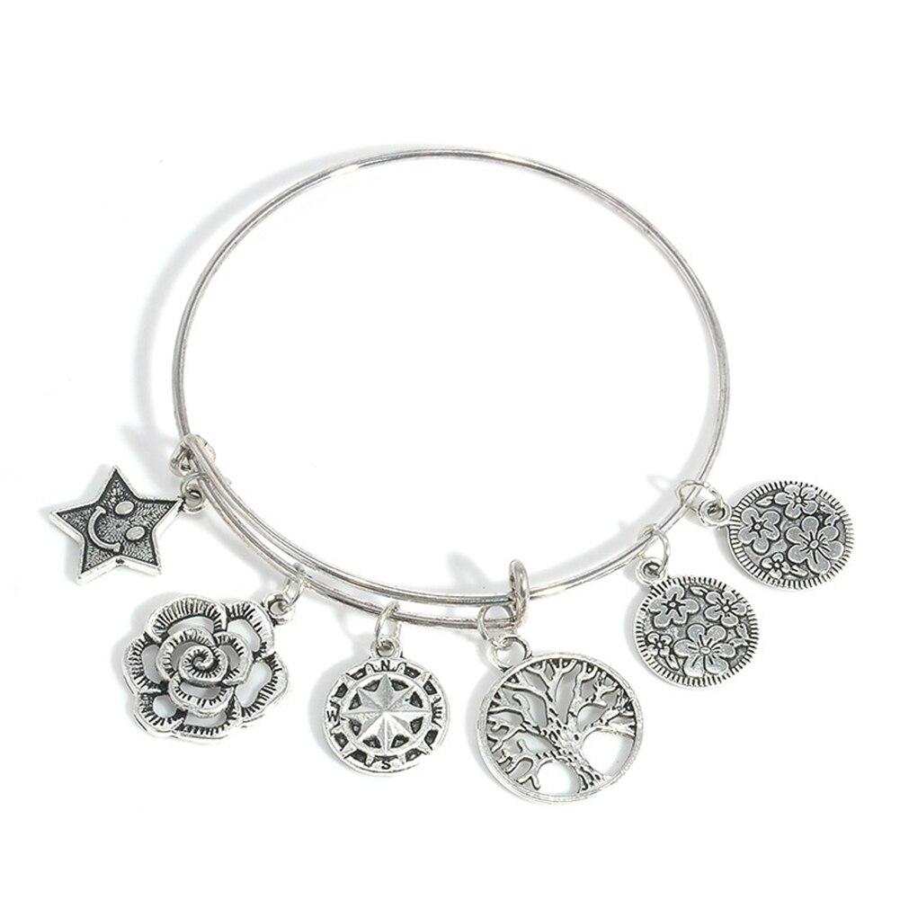 Retro Antique Silver Tree Star Flower Charm Pendant font b Bracelet b font Bangle Lady Jewelry