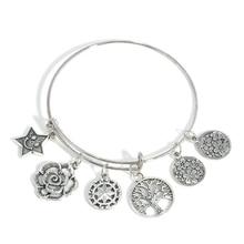 Retro Antique Silver Tree Star Flower Charm Pendant Bracelet Bangle Lady Jewelry Wedding Bridal Pulseira brazalete Mujer Kids