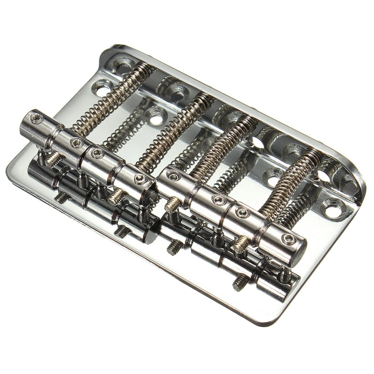New Silver Metal 4 String Bass Bridge Chrome Vintage Style Bridge For Fender Jazz or P Bass Guitar With 5 Screws+Bridge+Wrenches a set chrome vintage shape saddle bridge for 5 string electric bass guitar top load or strings through body